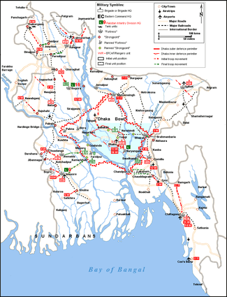 Military map of East Pakistan from August 1971