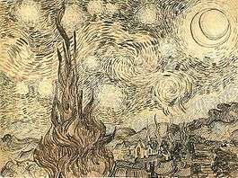A drawing of a landscape in which the starry night sky takes up two thirds of the picture. In the left foreground a cypress tree extends from the bottom to the top of the picture. To the left, village houses and a church with a tall steeple are clustered at the foot of a mountain range. In the upper right is a crescent moon surrounded by a halo of light. There are many bright stars large and small, each surrounded by swirling halos. Across the centre of the sky the Milky Way is represented as a double swirling vortex.