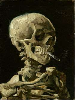 A skull smoking a cigarette