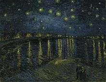 A view of a dark starry night with bright stars shining over the River Rhone. Across the river distant buildings with bright lights shining are reflected into the dark waters of the Rhone.